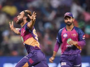 Rising Pune Supergiants bowler Imran Tahir celebrates the wicket