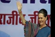 "Congress President Sonia Gandhi waves to the delegtes present during the ""Sankalp Diwas"""