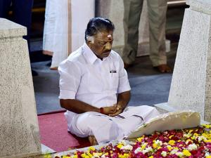 Tamil Nadu Chief Minister O Panneerselvam sitting in a meditation in front of late J Jayalalithaa's burial site