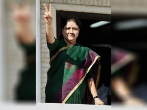 AIADMK General Secretary V K Sasikala flashes a victory sign