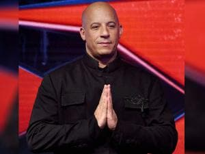Vin Diesel at a press conference to promote their upcoming film