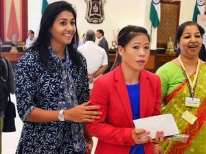 Olympian Anju Bobby George with boxer MC Mary Kom at a warm send-off ceremony