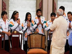 Prime Minister Narendra Modi interacts with the athletes and sportspersons during a warm send-off ceremony organised for the Indian contingent for Rio Olympics 2016