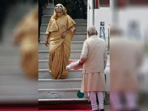 Prime Minister Narendra Modi receives his Bangladeshi counterpart Sheikh Hasina on her arrival