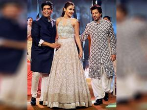 Anushka Sharma along with fashion designer Manish Malhotra during the Mijwan Summer 2017