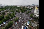 An aerial view of the huge gathering at Trinamool Congress' 'Shahid Diwas' rally in Kolkata