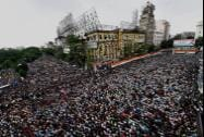 Trinamool Congress activists during a rally in Kolkata on Monday to observe Martyr's day