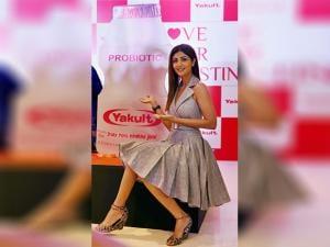 Bolywood celeb Shilpa Shetty at a promotional event in New Delhi