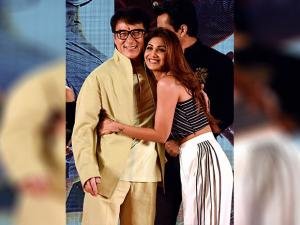 Jackie Chan and Shilpa Shetty during a promotional event of his movie 'KungFu Yoga in Mumbai