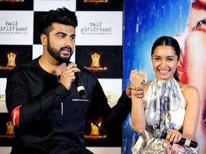 Arjun Kapoor and Shraddha Kapoor during the trailer launch of film Half Girlfriend