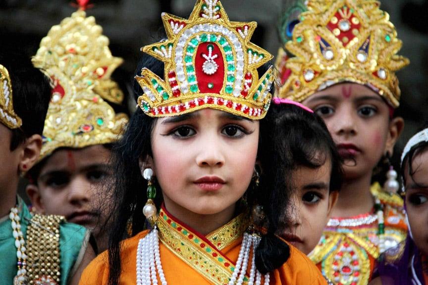 Kids, dressed, Lord Krishna, participate, procession, Janmashtami