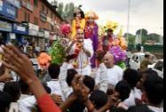 Kashmiri pandits at a rally taken out by the community to mark Janamashtami