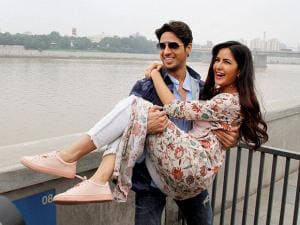 Siddharth Malhotra and Katrina Kaif share a light moment at Sabarmati river front