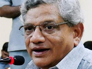 CPI (M) General Secretary Sitaram Yechury addresses a press conference in New Delhi on Thursday following the Assembly elections results of five states