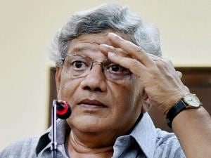 CPI (M) General Secretary Sitaram Yechury during a press conference in New Delhi on Thursday following the Assembly elections results of five states