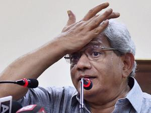 CPI (M) General Secretary Sitaram Yechury during a press conference in New Delhi on Thursday following the Assembly elections results of five states (2)
