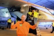 Pilot Bertrand Piccard reacts after landing down the solar powered Swiss aircraft Solar Impulse 2