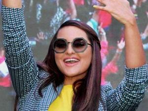 Sonakshi Sinha with her mother Poonam Sinha during an event where women attempted for the Guinness world record for the most number of people painting their fingernails simultaneously, on the occa