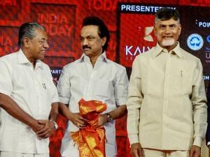 Andhra Pradesh Chief Minister Chandrababu Naidu and Kerala Chief Minister Pinarayi Vijayan and DMK Working President MK Stalin