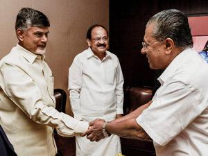 Venkaiah Naidu, Andhra Pradesh Chief Minister Chandrababu Naidu and Kerala Chief Minister Pinarayi Vijayan