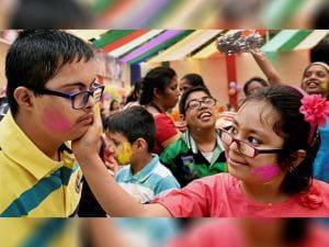 Specially abled children participate in Holi Utsav