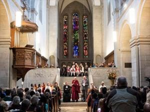 Dalai Lama, Tenzin Gyatso, speaks during the Peace prayer at the Grossmuenster church  in Zurich