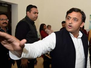 Uttar Pradesh CM Akhilesh Yadav at a program at his residence in Lucknow