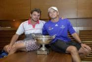 Switzerland's Stan Wawrinka, left, poses with his coach Magnus Norman