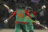Bangladesh's Mushfiqur Rahim and Soumya Sarkar celebrate