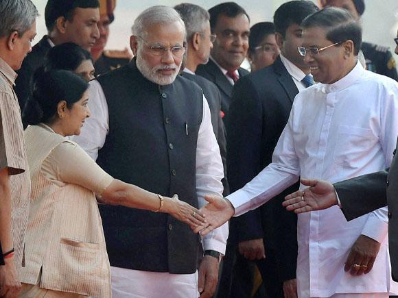 Sushma Swaraj, President of Sri Lanka, Maithripala Sirisena, Prime Minister of India, Narendra Modi, President of India, Pranab Mukherjee, Jayanthi Sirisena