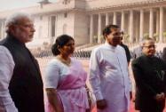 President Pranab Mukherjee and Prime Minister Narendra Modi with Sri Lanka's President Maithripala Sirisena as his wife Jayanthi Sirisena