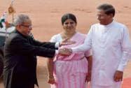 Sri Lanka's President Maithripala Sirisena shakes hand President Pranab Mukherjee