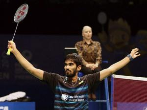 India's Srikanth Kidambi celebrates after defeating Japan's Kazumasa Sakai