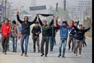 Muslim Shia mourners during a procession to mark eighth day of Muharram in Srinagar