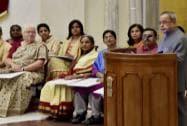 President Pranab Mukherjee speaks at the 'Stree Shakti Puraskar, 2014' and 'Nari Shakti Puraskar' awards function