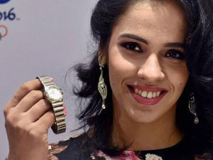 Ace Shuttler Saina Nehwal displays an Omega watch