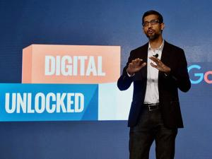 Google CEO Sundar Pichai addressing a program to announce the ''Digital Unlocked'' skill program