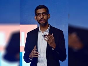 Google  Sundar Pichai addressing a program to announce the ''Digital Unlocked'' skill program