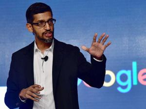 Sundar Pichai addressing a program to announce the ''Digital Unlocked'' skill program