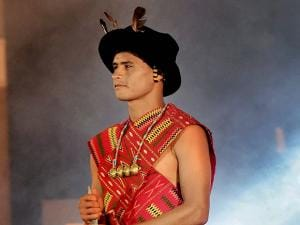 Eugeneson Lyngdoh walks the ramp at the AIFF Awards