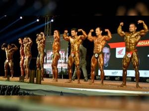 Body builders perform during 10th Mr. India Men's National Championship in Gurugram