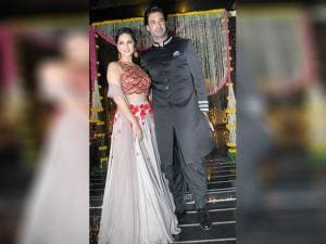 Sunny Leone along with her husband Daniel Weber during Aamir Khan's Diwali celebrations