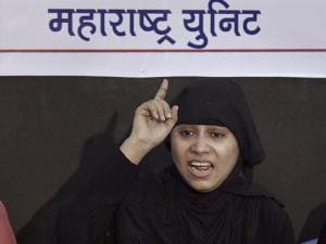 Safia Danish Ansari speaks during a press conference on triple talaq