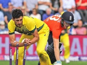 England's Sam Billings is run out by Australia's Mitchell Starc
