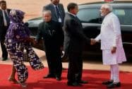 Mukherjee and Narendra Modi greeting Tanzania President Jakaya Kikwete and his wife Salma