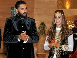 Yuvraj Singh with Hazel Keech during their Ring Ceremony at a hotel
