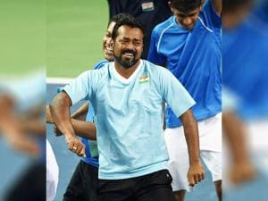 Leander Paes with teammate celebrates after their victroy over New Zealand during the Davis cup match