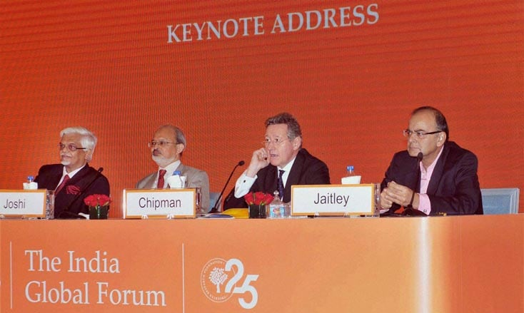 Union Minister for Finance, Corporate Affairs, Defence, Arun Jaitley, delivering, keynote, the India Global Forum, organised, International Institute for Strategic Studies, New Delhi