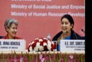 Union HRD Minister Smriti Irani with Irina Bokova Director General of UNESCO