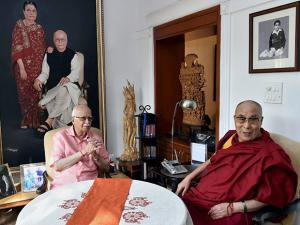 L K Advani with Tibetan spiritual leader Dalai Lama in a meeting at his residence